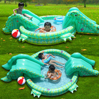 Wholesale New arrival multifunctional inflatable child swimming pool game Crocodile for swimming pool with double slide Stroke waterslide