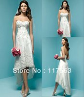 Cheap Free Shipping Built-in Bra Strapless Corset Lace Tea length White Dress Casual Beach Wedding Dresses For Bride