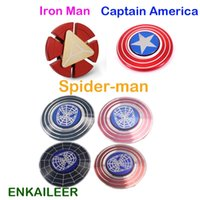 Iron Man spider-man metal Hand Finger Spinner Captain America Shield Metal Top Tri-spinner Toys Marvel Super Heroes Fidget Spinners