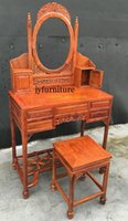 Wholesale Wood antique dresser set bedroom set piece dresser with stool home stool make up desk small drawers boxes african rosewood