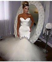 Wholesale Simple Design Sweetheart Ivory Satin Mermaid Custom made Court Train Sleeveless Fishtail Tulle Wedding Dresses W0129