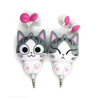 al por mayor gato queso lindo-Cute Kawaii queso Cat Bear Panda Cartoon Retractable MP3 MP4 auricular para Samsung HTC Xiaomi para IPhone 5 5s 6 6s plus