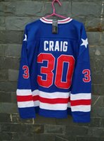 Wholesale Vanled Miracle On Ice Team USA Jim Craig Jersey Blue size small xl