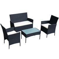 Wholesale 4 PC Outdoor Rattan Furniture Set Sofa Cushioned Patio Garden Steel NEW
