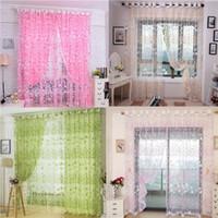 Wholesale Color Floral Print Voile Tulle Door Window Curtain Drape x200cm