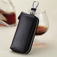 Wholesale Card Key Wallets Men Women Fashion Casual Plain Leather Purse Creative Gift Bags Motorcycle Key Organizer Zipper Black Wallet