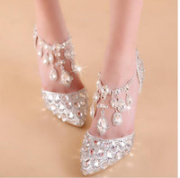 Wholesale 2017 Handmade Crystal Rhinestone Wedding Sandals Chain Pointed Toes Bridal Dress Shoes EUR Size Elegant Evening Party High Heels