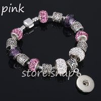 Wholesale 6 Snap Button Bracelet COLORS Imitation Crystal Diamond Metal Interchangeable Jewelry Ginger Snaps Jewelry