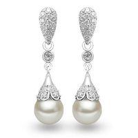 Wholesale PATICO Elegant Classic Sterling Silver Water Drop Earring Pearl Dangle Earrings Women Brincos Wedding Pearls Jewelry