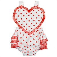 Wholesale Baby Girls Ruffle Lace Rompers Newborn Birthday Cotton Jumpsuit Y Infant Love Heart Bodysuit Children Valentine Gift Clothes K058