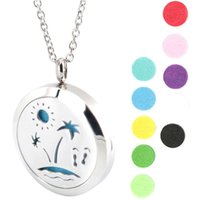 beach perfume - travel and beach mm Aromatherapy Essential Oil surgical Stainless Steel Perfume Diffuser Locket Necklace with chain and pads