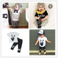 Unisex baby clothes leggings - Boys Girls Baby Childrens Clothing Outfits Printed Kids Clothes Sets Cute Printed t shirts Harem Pants Leggings Set Clothing Suits