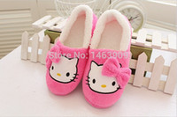 Women house hello - Winter Home Slippers For Women Cartoon Hello Kitty Indoor Shoes Warm House Shoes Plush Slippers With Bowtie Loafers Pantuflas