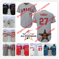 anaheim angels jersey noir achat en gros de-Stitched Mens Los Angeles Angels D'Anaheim # 27 Mike Trout pull gris rouge blanc all star camo noir cooperstown cool flex jerseys