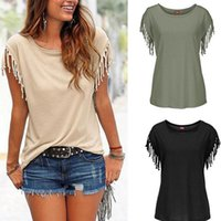 Wholesale New Summer Plus Size Tassel t shirt Womens T Shirts Short Sleeve Tops Tees Tshirt Fashion For Women Ladies Sexy Blusas W1