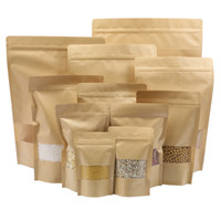 aluminum lined bags - 100pcs Food Moisture proof Bags Kraft Paper with Aluminum Foil Lining Stand UP Pouch Ziplock Packaging Bag