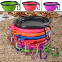 Wholesale Silicone Folding Dog Feeding Bowl Collapsible Cats Water Dish Cat Portable Feeder Puppy Travel Bowls Colors