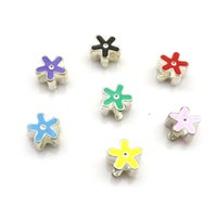 Wholesale Cute Enamel Flower Charm Beads Fit DIY Mixed Colors Big Hole Beads Metal European Beads