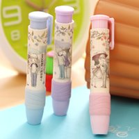 Wholesale Cute Students Pen Shape Hand Press Eraser Rubber Pencil Kid Funny Stationery School Supplies Office Accessories Student Prize