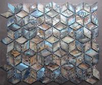 Wholesale Blue Rhomb Geometric Backsplash Mother of Pearl Shell Mosaic Tiles