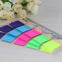 adhesive rulers - New Fashion Sets Plastic Candy Color Pencil Stub Shape Memo Pad Fluoresc Sticky Notes Post It Page Flag Index With Cm Rulers