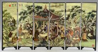 asian wood screen - Asian Lacquer Ware Old Lanting Juxian Painting Hand Superb Immortal Screen Lucky