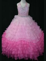 Wholesale New Tierred Beaded Halter Top Two tones Pink Ruffled Organza Little Girl Pageant Gowns LRG2