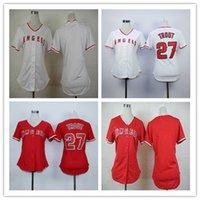 Красная форель Цены-Женщины Los Angeles Angels рубашка 27 Майк Форель Женский LA бейсбол Джерси белый красный дамы размер S-XXL