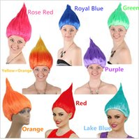 Wholesale 100pcs DHL Trolls Wig for Kids Adults Pink Green Purple Orange Costume Cosplay Party Supplies Party Cosplay Wig Colors In Stock