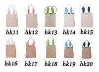 Wholesale Easter Bunny Bags Cotton Linen Dual Layer Rabbit Ears Design Easter Bunny Handbag Ears Bags Cotton Material Easter Burlap Celebration Gifts