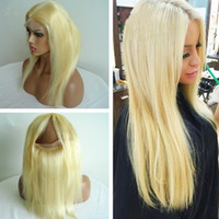 Cheap Pre Pluckled blonde #613 360 Lace Band Frontal Silk Base 4x4 With Baby Hair Straight Lace Frontal Closure With Adjustable Straps 22.5*4*2