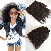 Wholesale Natural Hair Clip Extensions Mongolian Virgin Hair Afro Kinky Curly Clip in HUman Hair Extensions set