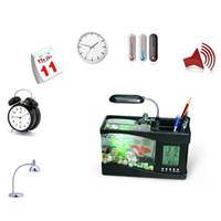 Wholesale Mini USB LCD Desktop Lamp Light Fish Tank Aquarium Multi fonction Aquarium Light LED Clock White Black Valentine Easer days gift