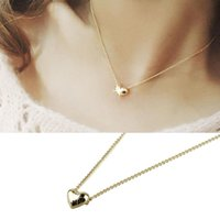 Wholesale 2016 Hot Sale Simple Smooth Small Women Heart Crystal Rose Gold Pated Pendant Necklaces Jewelry Good looking JUN