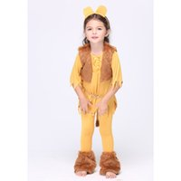 al por mayor polainas de colores-Trajes de Cosplay de los niños Sets Headwear + Leggings + Waistcoat + Tip = One Set traje lindo tema trajes color amarillo Kids cosplay ropa