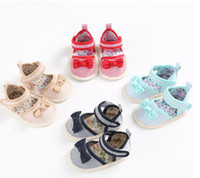Wholesale 2016 baby fashion summer sandals beautiful bow kids soft bottom toddler shoes CM CM CM girls sandals pair B7