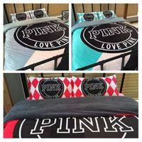 Wholesale Pink Bedding Set Pink Letter Bed Sheet Pillowcases Warm Duvet Covers Velvet Bedclothes Set Fashion VS Bedding Home Textiles OOA1106