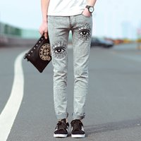 beige eye pencil - mens skinny jeans slim pencil pants new Korean fashion elastic jeans cotton eye patterm printed embroidered jeans men