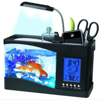 Wholesale Mini USB LCD Desktop Lamp Light Fish Tank Aquarium LED Clock Creative small fish tank HR ecological fish tank calendar White Black