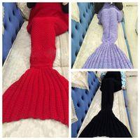 Wholesale Mermaid Blankets Crochet Mermaid Tail Sleeping Bags Handmade Knitted Mermaid Tail Blankets Crochet Air Condition Sofa Blanket cm F192