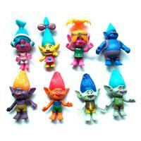 Vente en gros DreamWorks Trolls PVC 8pcs Figurines d'action Trolls poupée jouets pour les enfants cadeau de Noël