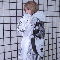 Cheap Vortex windbreaker comics coat long sunscreen water proof clothes plus size punk windbreaker men women lover Horror Manga jacket