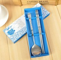 Wholesale 50 sets Stainless steel blue and white porcelain spoon chopstick sets Wedding Favours party return gifts