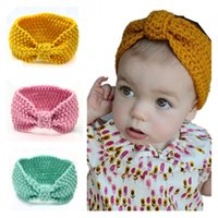 Wholesale 2016 Newborn Infant Toddler Woolen Yarn Bow Solid Elastic Nylon Headbands For Baby Girls Bow Headbands