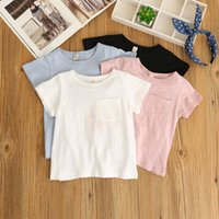Fashion baby blouse design - Girls Cotton Summer Tees Baby Kids Pocket Design Candy Color Tops Children Blouse Stylish Clothing