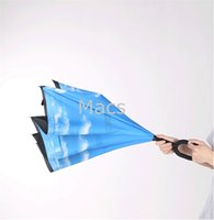 Wholesale 8 Shafts Creative inverted umbrellas PONGEE double layer C handle inside out reverse Windproof umbrella colors available