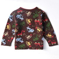 Wholesale Christmas New Year s Day The boy clothing Children s clothes Plaid fleece Plaid shirt beep car Cartoon clothing lovely borrow