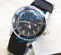 Brand New Mens Automatique Date Auto Vintage Montres Spéciales Montre Noire Cadran Nato Tissu Bracelets Montres Sport Dive hommes Montres-bracelets