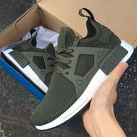 Wholesale nmd new Men And Womens XR1 Olive green Glitch Black White Blue Camo Primeknit Runing Shoes Kids Sneakers