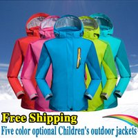 Wholesale 2017New Colorful Coat Clothing Children Outdoor Waterproof Windproof Thermal Jacket Boy Girl Outdoor Hiking Camping Jackets